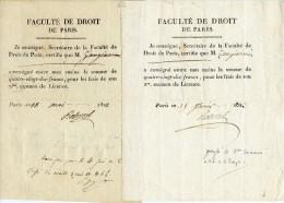 Paris,1822, Faculté De Droit,frais De Licence, 2 Docs, Zangiacomi, Reboul, Secrétaire - Diplômes & Bulletins Scolaires