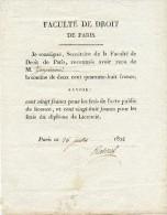 Paris, Faculté De Droit,1822, Attestation De Versement Diplôme De Licencié, Zangiacomi,Reboul Secrétaire - Diplômes & Bulletins Scolaires