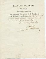 Paris, Faculté De Droit,1820, Attestation De Naissance, Zangiacomi,Reboul Secrétaire - Diplômes & Bulletins Scolaires