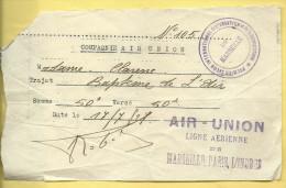 COMPAGNIE AIR UNION LIGNE AERIENNE MARSEILLE PARIS LONDRES BAPTEME DE L AIR 1927 CACHET PREMIER SALON INTERNATIONAL
