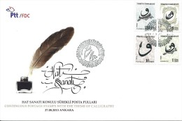 Turkey; FDC 2013 Regular Stamps With The Theme Of Calligraphy - FDC