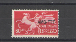 TRIESTE A 1950 ESPRESSo DEMOCRATICA 60 LIRE ** MNH LUSSO - 7. Trieste