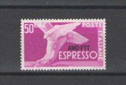 TRIESTE A 1952 ESPRESSo DEMOCRATICA 50 LIRE ** MNH LUSSO - 7. Trieste