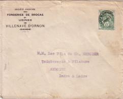 TYPE BLANC - 5c PREO - LETTRE ENTETE DES FONDERIES DE BROCAS ET USINES DE VILLENAVE D'ORNON - GIRONDE. - 1921-1960: Modern Period