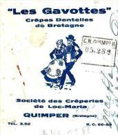 LES GAVOTTES  Crêpes Dentelles De Bretagne   Crêperies De Loc-Maria  QUIMPER - Lettres De Change