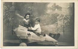 REAL PHOTO,MONTAGE, 1944 BERLIN,Germany Children Military Plane Toy Pedals,Boy With Mother,Kinder Militärischen Flugzeug - Aviation