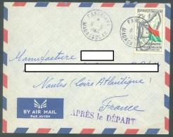 MADAGASCAR  -  PAR AVION 6.5.1960 - FANDRIANA APRES LE DEPART - Yv 338 - Lot JJ11901 - Madagascar (1960-...)