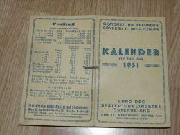 Kalender 1931 Bund Der Spater Erblindeten Österreichs Wien Austria - Calendari