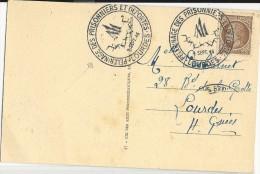PRISONNIERS De GUERRE + DEPORTES - 1946 - CARTE Du PELERINAGE à LOURDES - Guerre De 1939-45