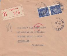 France - Lettre Recommandée De 1923 - Oblitération Paris 110 - Rue De Rennes - Avec Censure - Storia Postale