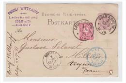 ---ALLEMAGNE -- CARTE POSTALE POUR LA FRANCE -- 1881-- DEUX PERFORATIONS -- - Briefe U. Dokumente