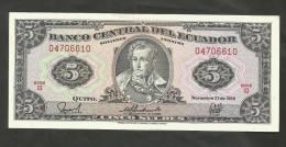 ECUADOR - BANCO CENTRAL Del ECUADOR - 5 SUCRES (1988) - Ecuador
