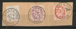 !!! TYPES BLANC SUR FRAGMENT CACHETS DANNEMARIE - ALSACE 11/2/1915 (VILLE RECONQUISE) - 1900-29 Blanc