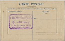 Lille Pub Cachet Imprimerie Typo Chromo Phototypie C. Van Cortenbergh 99 Rue Des Stations Sur CP Bruxelles - Lille