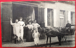 Carte Photo - Boucherie - Boucher - Charcuterie - Devanture - Attelage - A Identifier - A Situer - Postcards