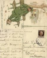 CARTOLINA ILLUSTR POSTA MILITARE 10 SEZ B 1943 POSTUMIA SLOVENIA X PATERNO' - 1900-44 Vittorio Emanuele III