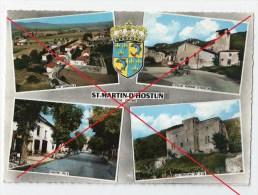 Ref Juin 15: CPSM De St-Martin-D'Hostun (26) Multivue Village église Centre-ville Château Vue Générale - Cachet Hostun - Sin Clasificación