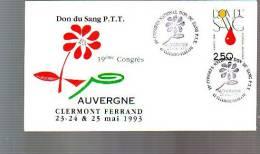 Enveloppe 19e Congrès National Don Du Sang Ptt Auvergne Clermont Ferrand 1993 - Temporary Postmarks