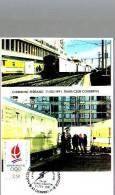 Carte Parcours Du Train Olympique 1991 Flamme Gare De Clermont Ferrrand - Bolli Provvisori