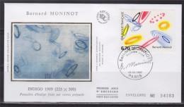 = Oeuvre Originale De Bernard Moninot 1er Jour Paris 29.3.97 N°3050 Indigo 1989 Poussière Sur Verres Préparés - 1990-1999