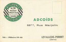 Dép 92 - Levallois Perret - Publicités - Publicité Assurance ADCOÏDS - 68 Rue Marjolin - 2 Scans - état - Reclame