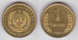 Uzbequistan 1 Tiyin 1.994 Latón Acero KM#1 SC/UNC   T-DL-10.223 - Uzbenisktán