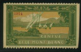 VIGNETTE  GENÈVE ET LE MONT-BLANC 1914 ,    A VOIR. - Cinderellas