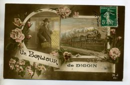 "71  DIGOIN ' Un Bonjour De "" Train Gare Voyageur  1910    /D07-2015 - Digoin"