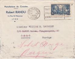 LETTRE FRANCE LYON 1939. Yv 427.  RARE DESTINATION NORVÈGE OSLO REDIRIGÉE BERGEN  TARIF 2.25F  / 1198