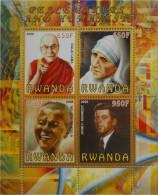 RWANDA 2009 GANDHI, MADRE TERESA, NELSON MANDELA,, J. F. KENNEDY BF MNH ** - Fantasy Labels