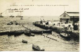 1546 - Maroc -  CASABLANCA - PAQUEBOT EN RADE ET QUAI DE DEBARQUEMENT  - Cachet  TROUPES D'OCCUPATION - Casablanca
