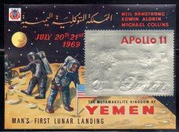 ESPACE - YEMEN - BLOC N° 280  ARGENT  **  (1969) APOLLO 11 - Spazio