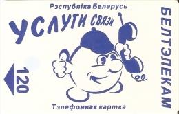 TARJETA DE BELARUS DE 120 UNITS DE UN HOMBRE CON TELEFONO (LETRAS GRANATE) - Belarus