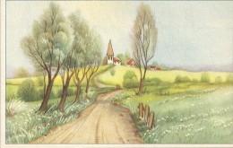 CARTE COLORISEE FANTAISIE Imprimé En BELGIQUE -Village - ENCH175 - - Fancy Cards