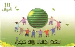 TARJETA DE PALESTINA DE 10 UNITS DE UN CORRO DE NIÑOS DEL AÑO 2000 - Palestine