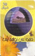 TARJETA DE PALESTINA DE 30 UNITS CON UNA MARIPOSA Y FLOR DEL AÑO 2000 - Palestine
