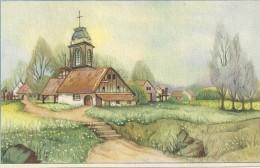 CARTE COLORISEE FANTAISIE Imprimé En BELGIQUE -Village Et Eglise  - ENCH175 - - Fancy Cards