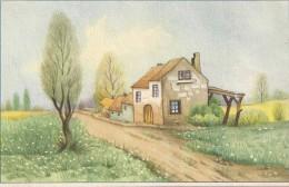 CARTE COLORISEE FANTAISIE Imprimé En BELGIQUE -Maison En Campagne - - ENCH175 - - Fancy Cards