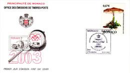 """FDC De 2002 """" 36 ème CONCOURS INTERNATIONAL DE BOUQUETS  """" N° YT 2378. Parfait état. - Mushrooms"""