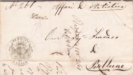 Lazise Per Belluno, Plico Postale Passato DaVenezia Con Contenuto 1876 - 1861-78 Victor Emmanuel II.