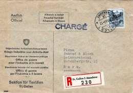 SCHWEIZ 1945 - 40 C Mit Überdruck Auf R-Firmen-Brief (Kriegs-Industrie U.Arbeitsamt St.Gallen) Gel.v.St.Gallen N.Bern ..