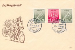 104c CICLISMO DDR 1956 9° CORSA INTERNAZION.VARSAVIA BERLINO PRAGA SU BUSTA - Radsport