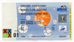 Football-Coupe Du Monde France 98-Billet Cérémonie D'ouverture + Brésil-Ecosse--prix 1250F Soit 190€-St DENIS-Stade FRAN - Tickets D'entrée