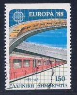 Greece, Scott # 1622 Used Europa, Trains, 1988 - Greece