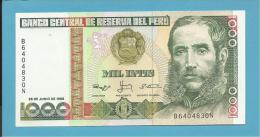 PERU - 1000 INTIS - 28.06.1988 - Pick 136.b - UNC. - MARISCAL ANDRES AVELINO CACERES - 2 Scans - Pérou
