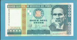 PERU - 10 000 INTIS - 28.06.1988 - Pick 140 - UNC. - CESAR VALLEJO - 2 Scans - Peru