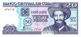 "20 PESOS - "" 2003 "" RARE  - SCARCE UNCIRCULATED ! - Cuba"