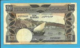 YEMEN DEMOCRATIC REPUBLIC - 10 DINARS -  ND ( 1967 ) - P 5 -  Sign. 2 - South Arabian Currency Authority - 2 Scans - Jemen