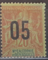 05 France New Caledonia 1912 Issues Of 1892 Surcharged  - 05/20 (C) Red/blue - Mint Hinged - New Caledonia