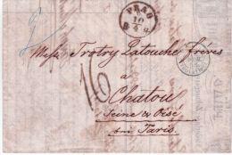 1858- Lettre De PRAG Pour La France En Port Du TAXE 16 Décimes- Superbe En-tête De Lettre - Tchécoslovaquie